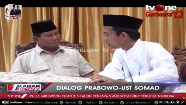 Ekslusif! Ini Video Lengkap Dialog Prabowo dengan Ustadz Abdul Somad