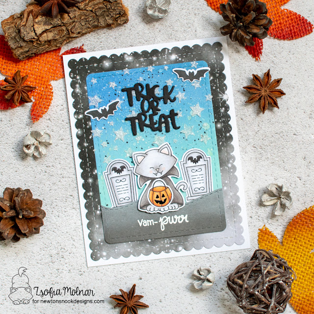 Vam-purr Card by Zsofia Molnar | Count Newton Stamp Set, Frames & Flags Die Set and Cascading Stars Stencil by Newton's Nook Designs #newtonsnook #handmade