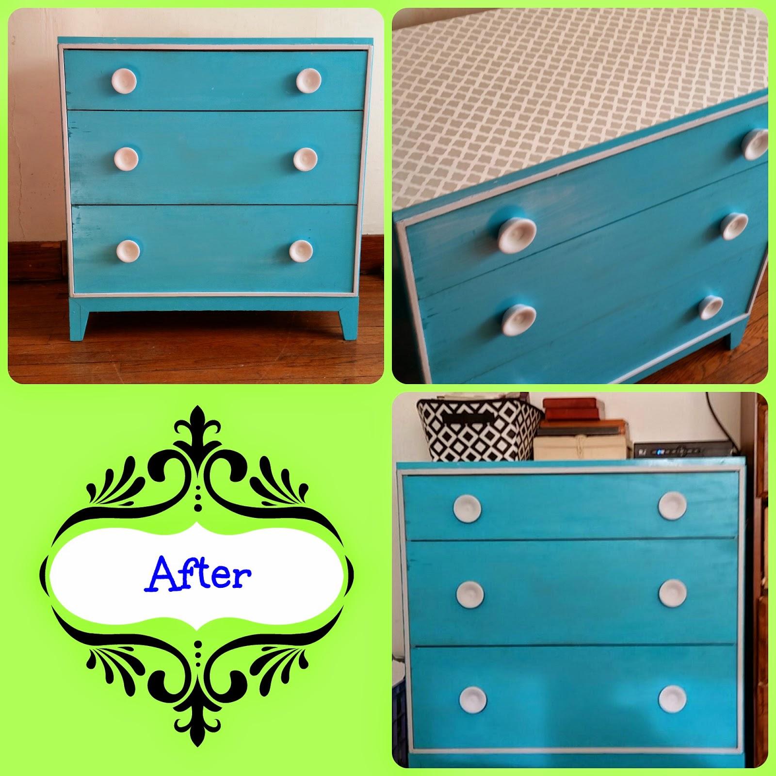 Beautiful blue and gray dresser refurbish, diy project
