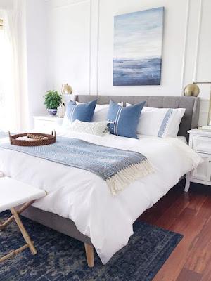 Inspirasi Kamar Warna Biru dan putih Soft Yang minimalis