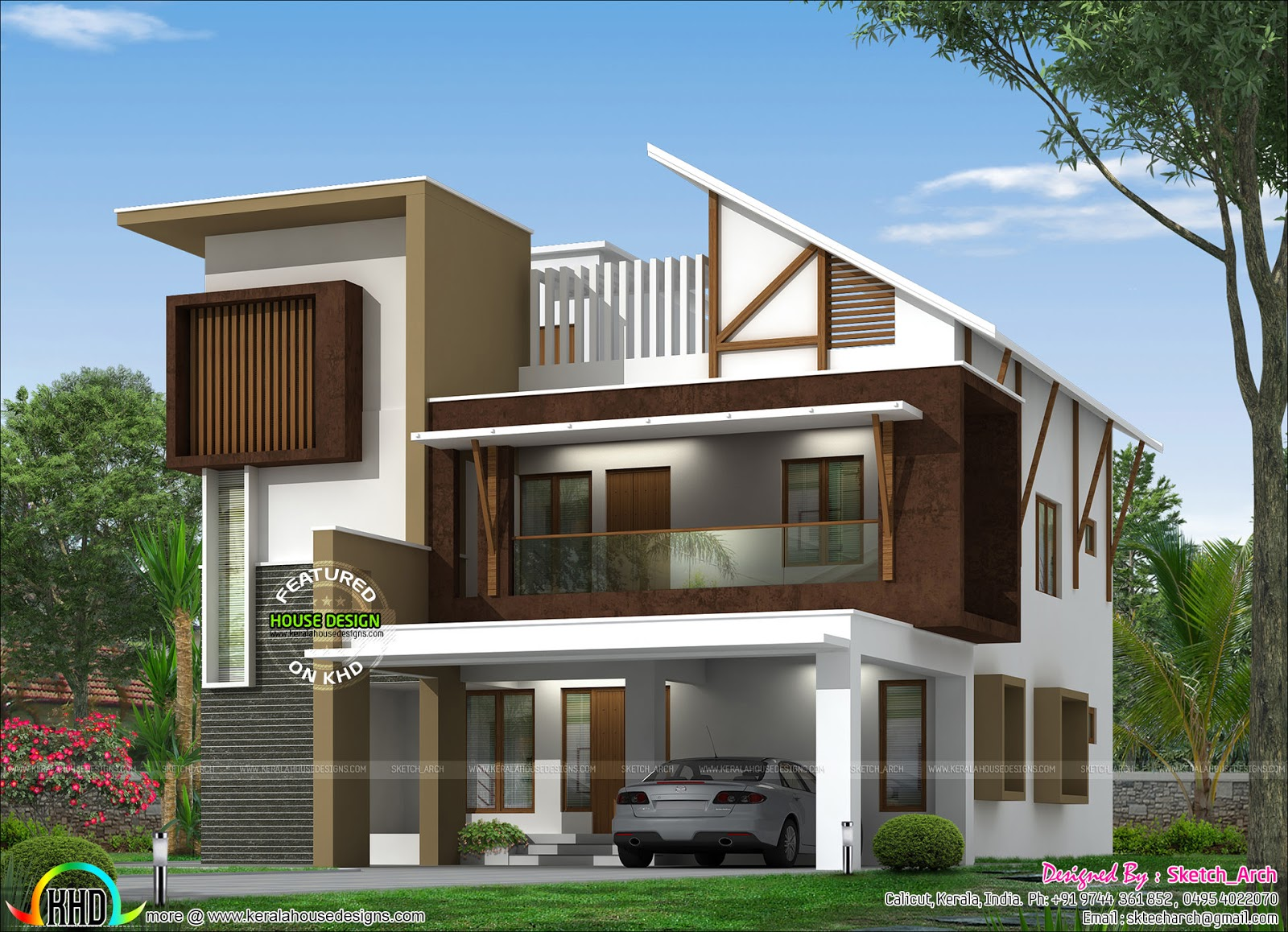 Front Elevation Slanting Roof Design : Modern slanting roof home kerala design and floor plans