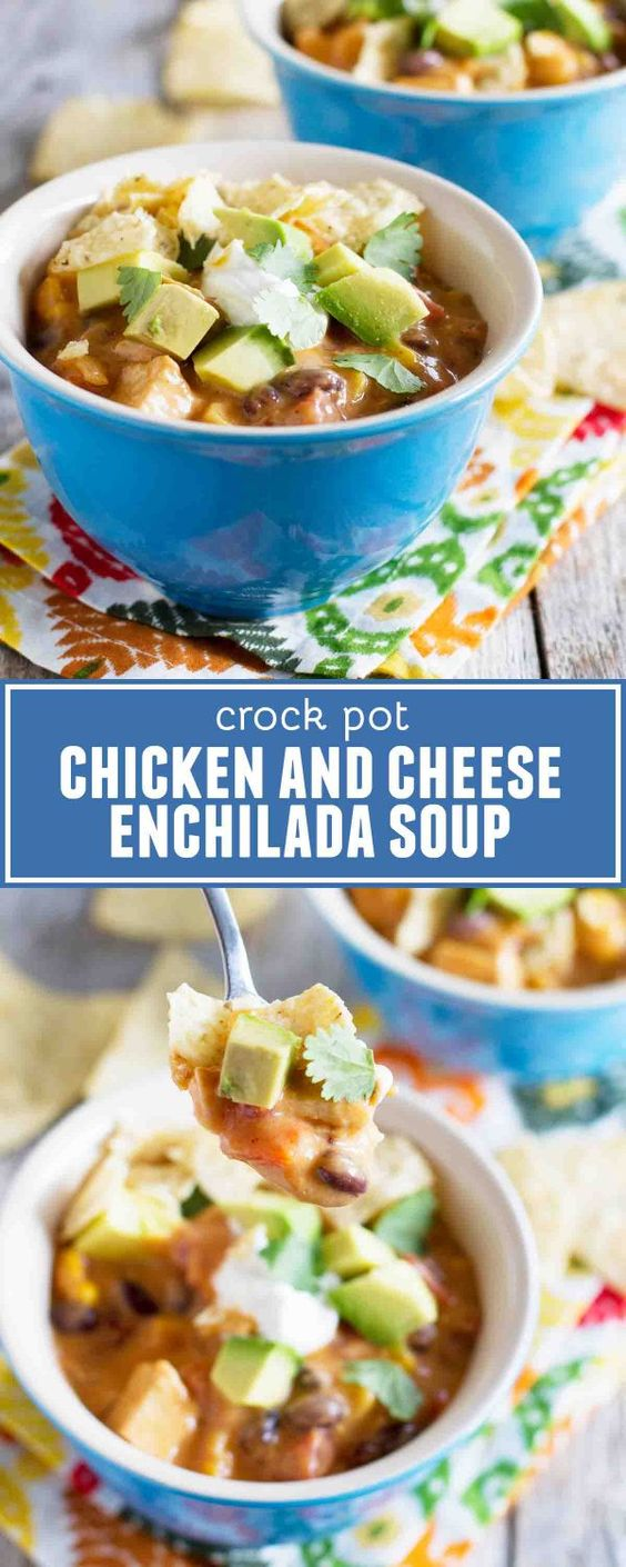 Slow Cooker Chicken And Cheese Enchilada Soup