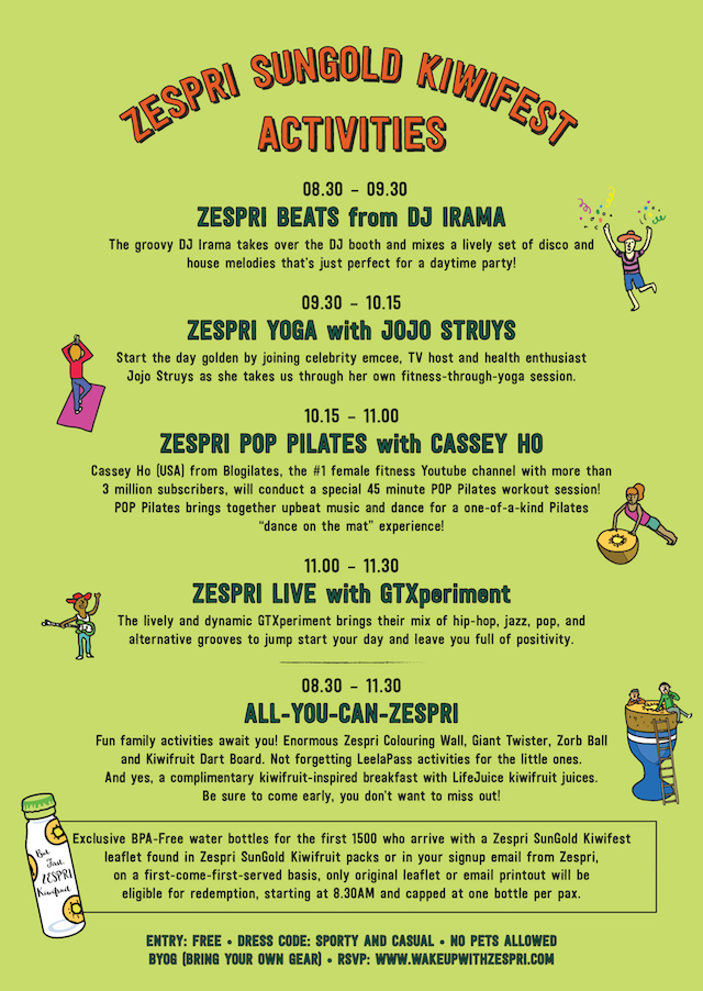 List of activities happening at Zespri's SunGold Kiwifest this Sunday!