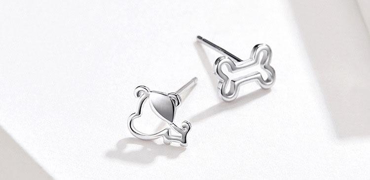 鏤空狗狗與骨頭 925純銀耳環