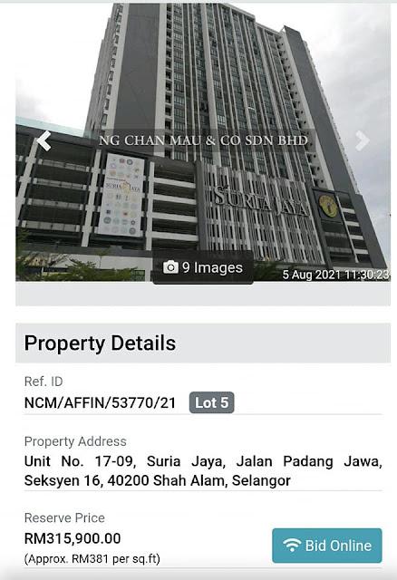 Unit ini dilelong pada harga RM315,900