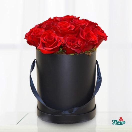 Cutie 19 trandafiri rosii