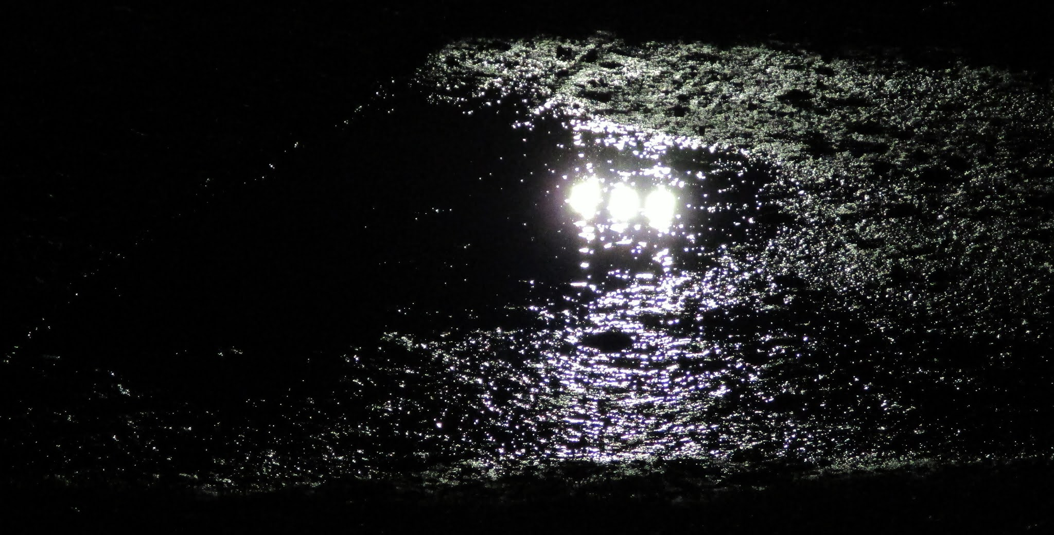 Floodlight reflection in a puddle at The Rivermoor Stadium