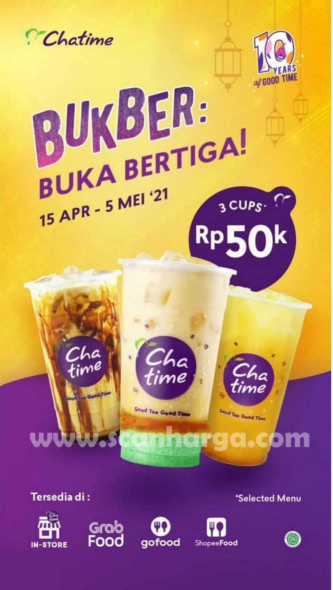 CHATIME Promo BUKBER Paket Buka Bertiga - 3 Cup hanya 50K