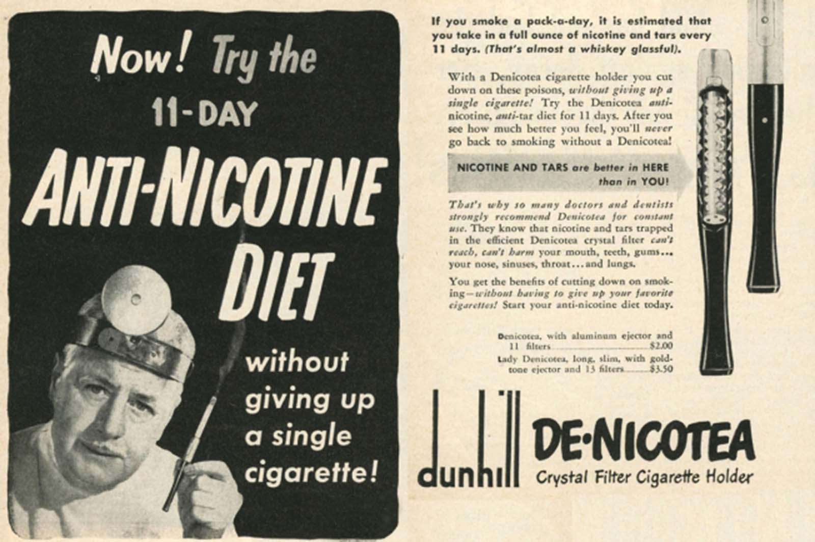 Meet a medical miracle from 1948: the crystal filter. Dunhill's ad calls nicotine a poison, but asserts that with this device, you can protect yourself