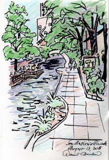 sketch of the San Antonio Riverwalk by David Borden