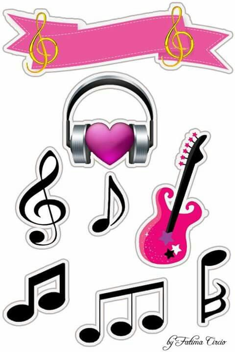 Music in Pink Free Printable  Quinceanera Cake Toppers.