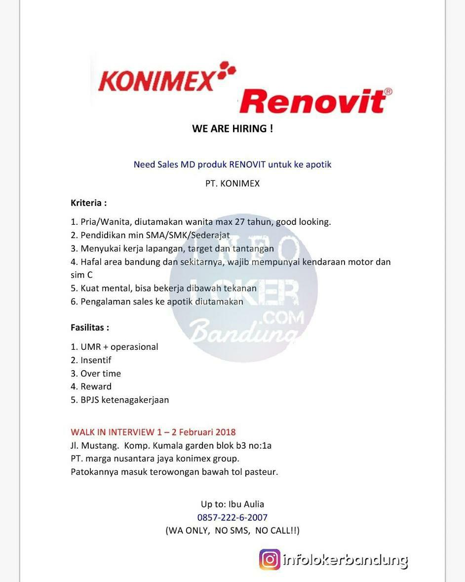 Walk In Interview PT. Konimex Bandung 1 - 2 Februari 2018