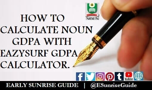 How to calculate NOUN GDPA with EazySurf GDPA Calculator