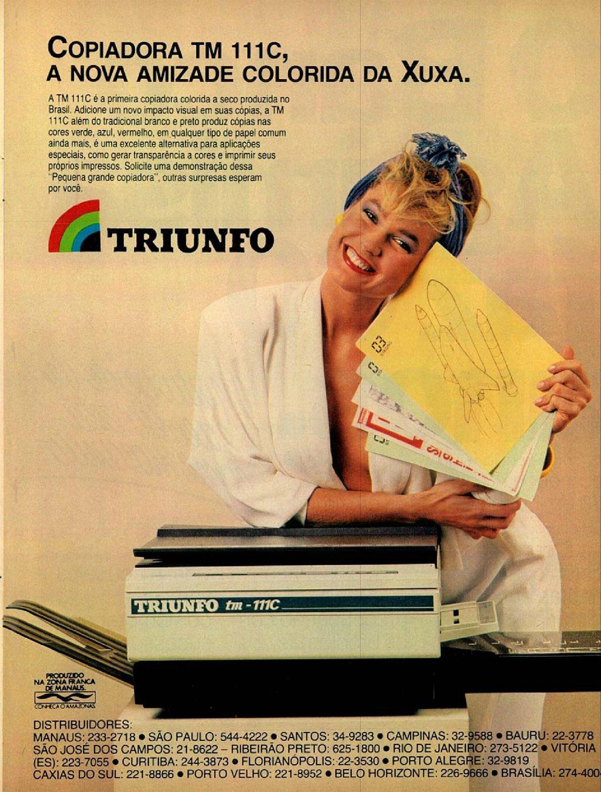 Propaganda de 1986 das copiadoras coloridas da marca Triunfo com a Xuxa como garota propaganda