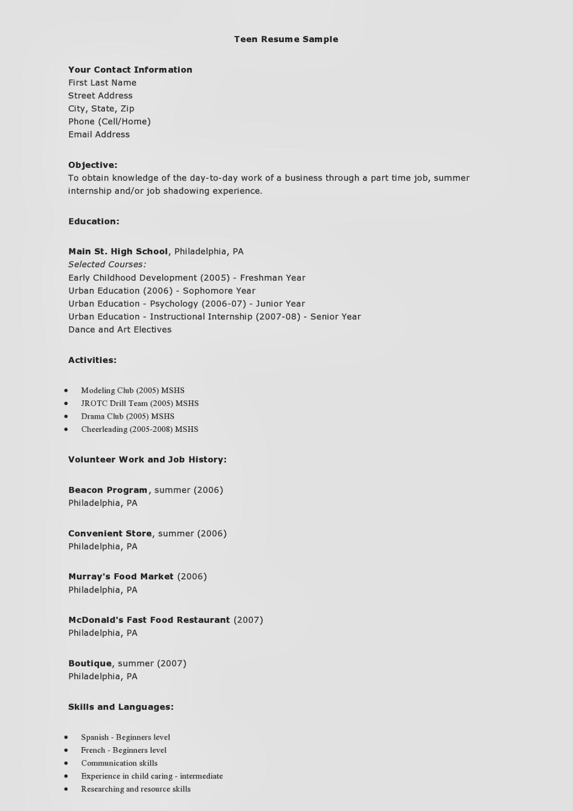 Teen Resume Example Employee Resume Resume Teenager Resume For - Teenage-resume-builder