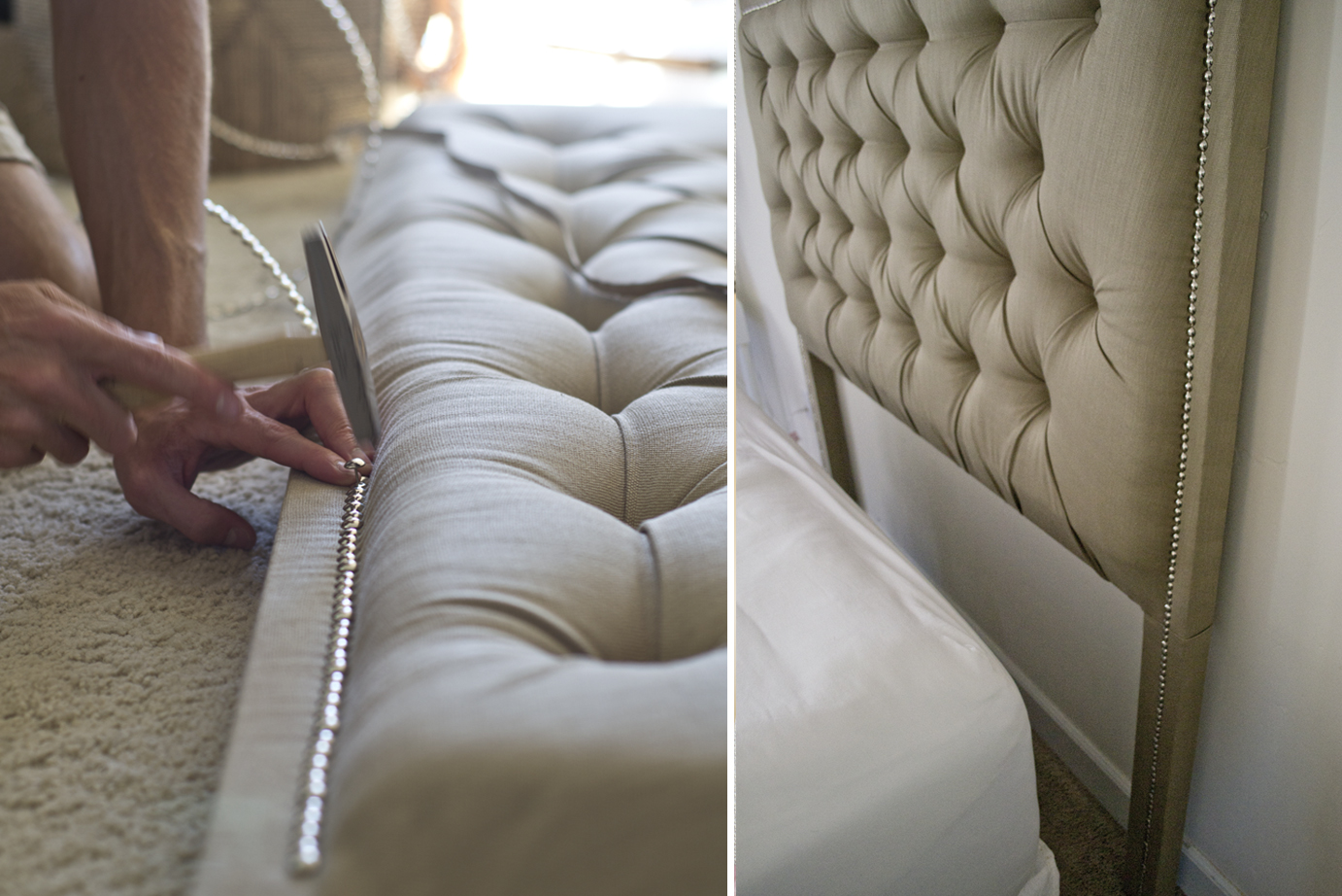Tufted Headboard with Nailhead   How To   Dorsey Designs