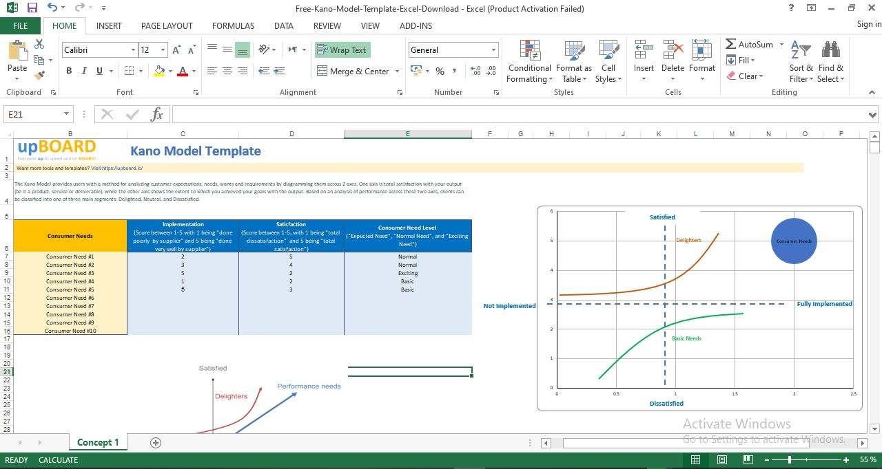 kano Model Template Free Download