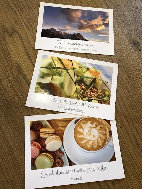 Postkarten, Urlaub, Terrasse, Bergblick, Garmisch-Partenkirchen, Outdoor-Bereich, Patio, 4Eck, Restaurant, Restaurantterrasse, Bergpanorama, Alpspitzblick