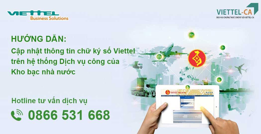 Ảnh minh họa: Cách cập nhật chữ ký số Viettel-CA trên hệ thống DVC của KBNN