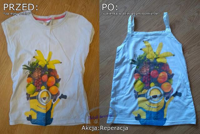 Sukienka dziecięca DIY z t-shirtu po mamie - Akcja:Reperacja u Adzika
