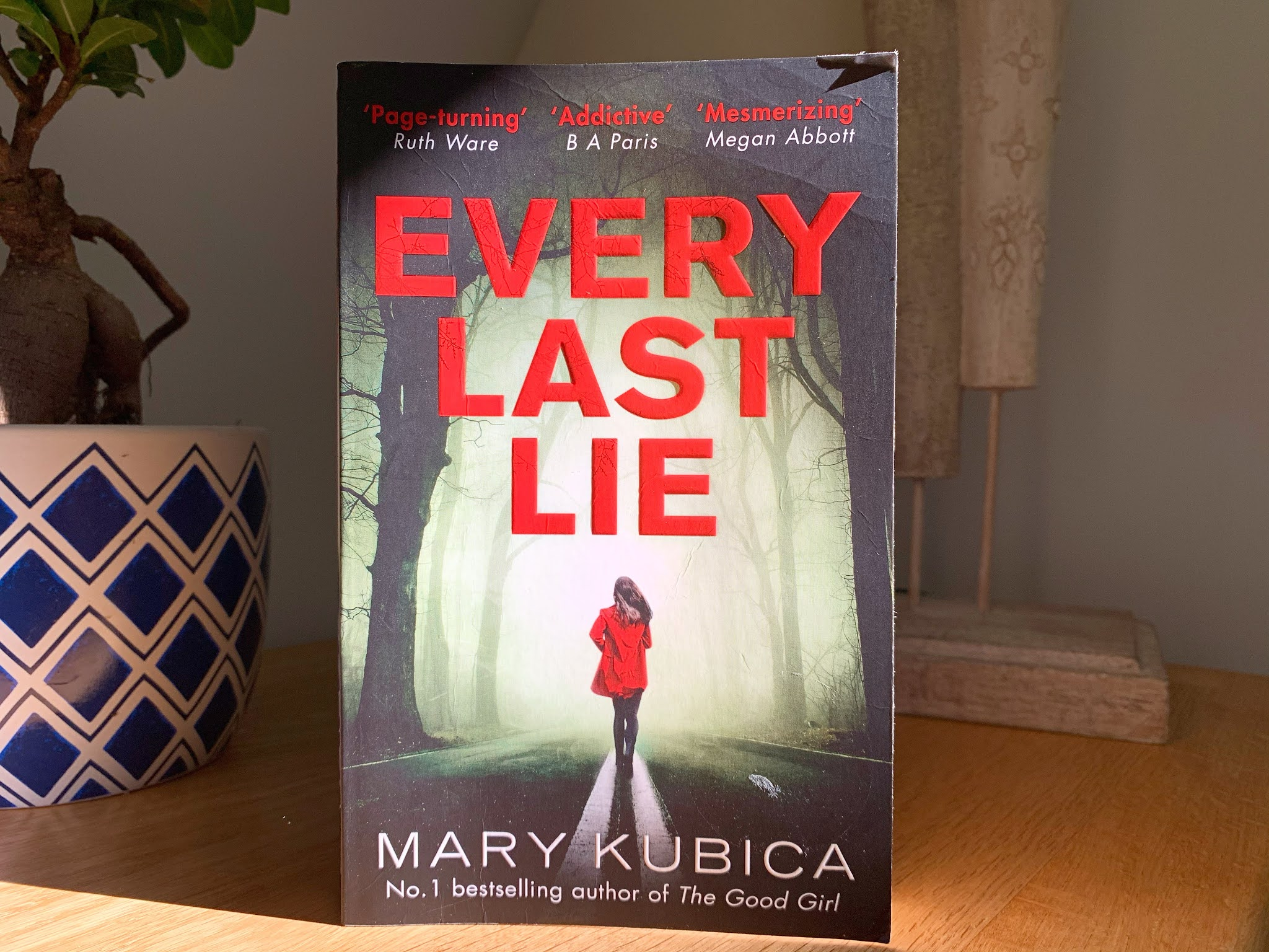 Every Last Lie by Maria Kubica book on a shelf