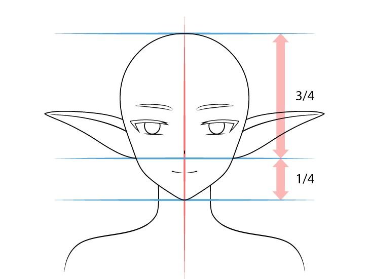 Anime sedang mengangkat telinga peri menggambar