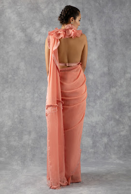 Manish Malhotra Saree collection coral stripe saree back side
