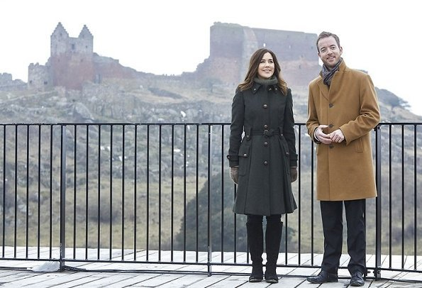 Crown Princess Mary of Denmark attended opening of a new visitor center at Hammershus which is located in Bornholm and the biggest castle of Northern Europe. MIU MIU Wool coat