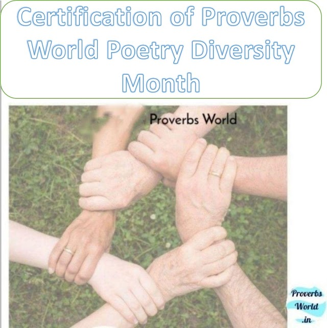 Proverbs World Poetry Diversity Month certification