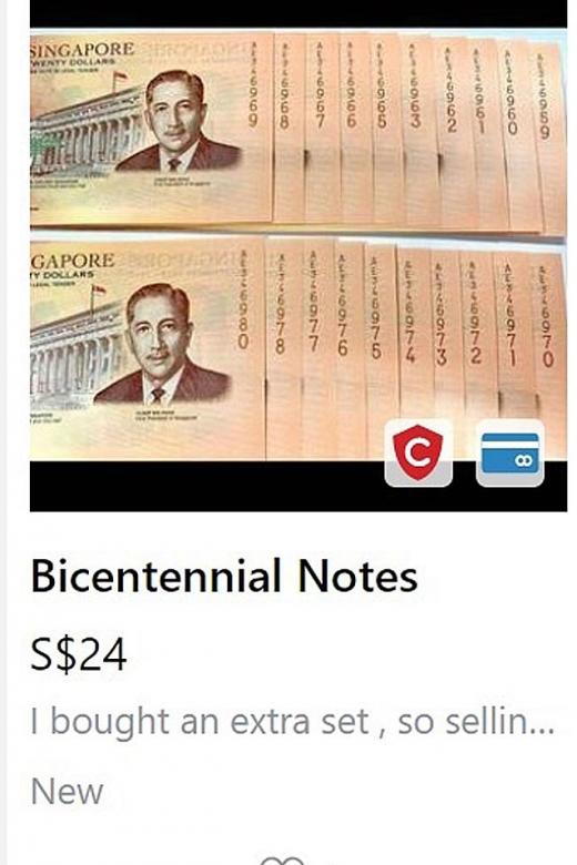 There were more than 400 listings selling the notes on Carousell.