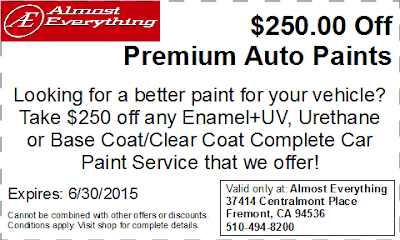 Discount Coupon $250 Off Premium Auto Paint Sale June 2015