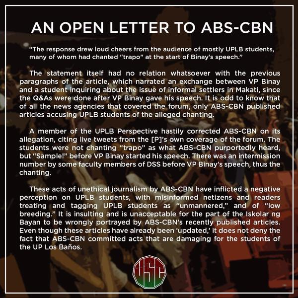 Viral News Update: UPLB Open Letter To ABS-CBN News Now Viral: