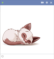 Napping cat emoticon for Facebook