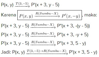 Mencari Transformasi Gabungan dari T(3, -5) → R(Sumbu-x)