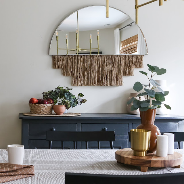 Dining Room Decor with a boho mirror