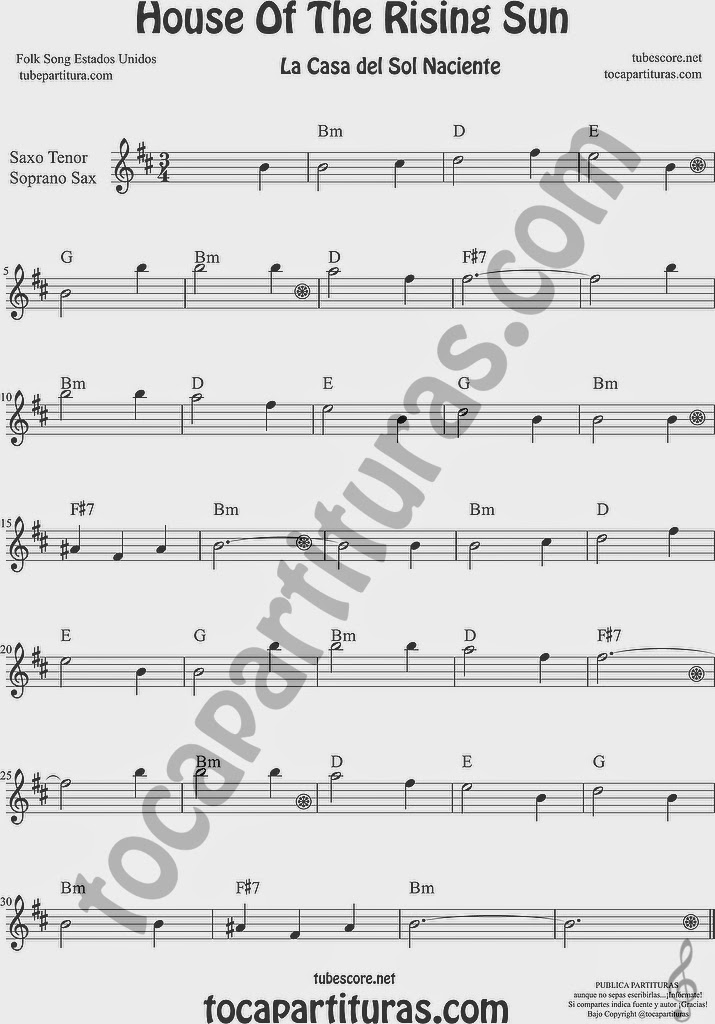 La Casa del Sol Naciente Partitura de Saxofón Soprano y Saxo Tenor Sheet Music for Soprano Sax and Tenor Saxophone Music Scores