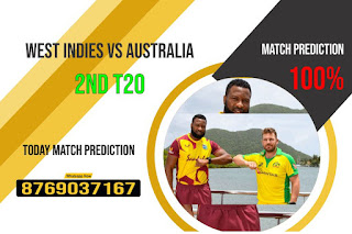 WI vs AUS Perfect 2nd T20 Match 100% Sure Today Match Prediction Tips