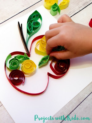 Easy Paper Quilling Apple Craft by Projects With Kids