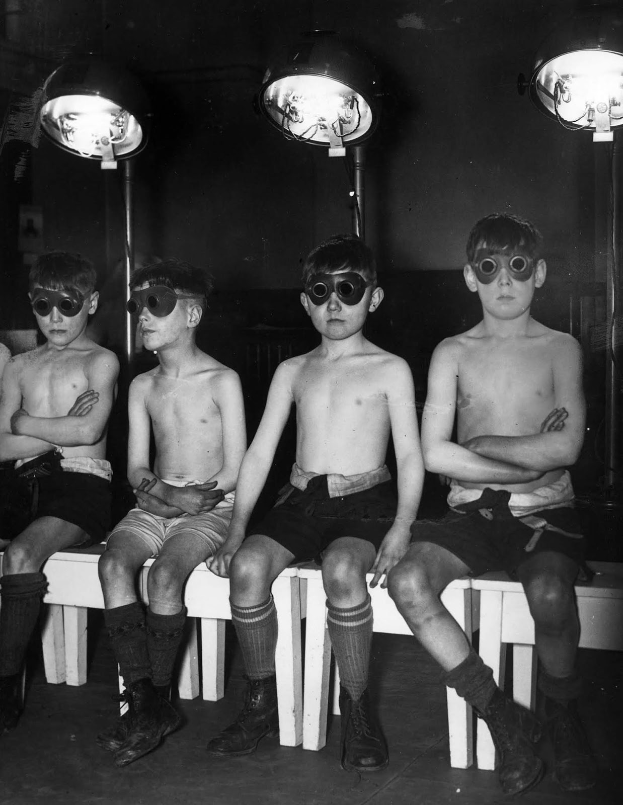 Children undergoing sunray treatment at Manchester's Open Air School for Delicate Children. 1939.