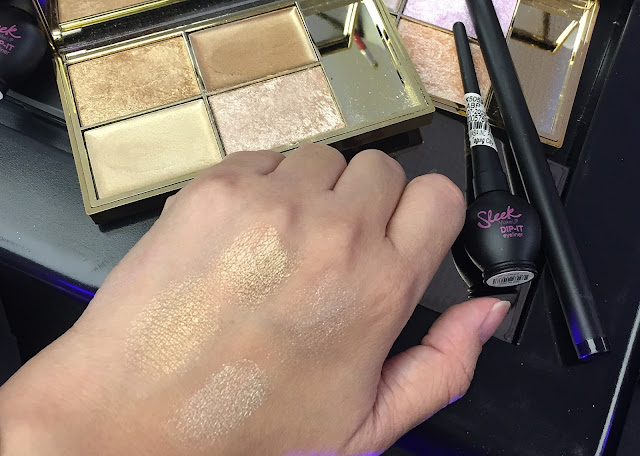 a swatch photo of sleek makeup Golden Highlighting Palette