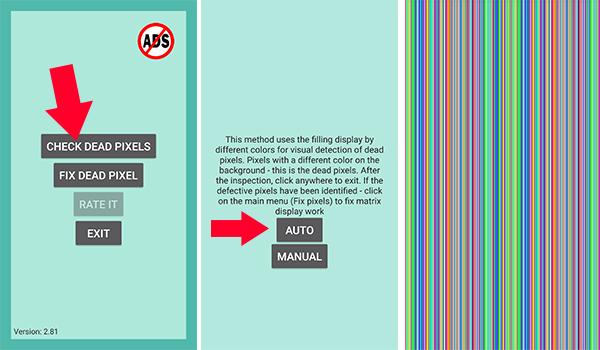 شرح تطبيق Dead Pixels Test and Fix لحل مشكلة البكسلات الميتة
