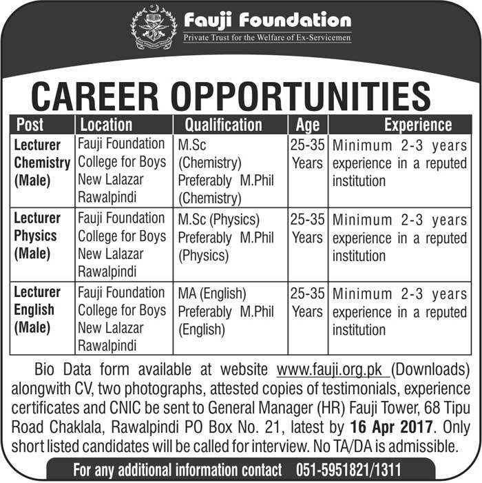 Fauji Foundation Boys College  New Lalazar Rawalpindi Jobs 2017