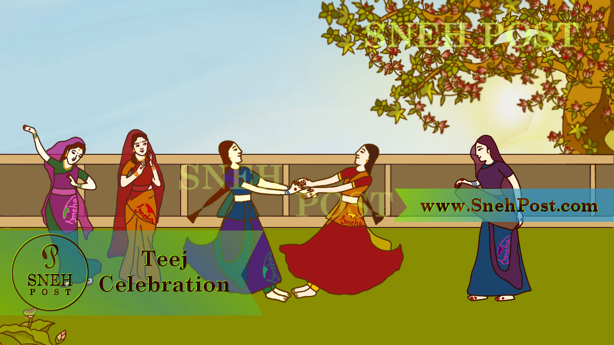 Hartalika Teej festival celebration guide: Hindu ladies and girls enjoying in backyard garden by swinging foondi, dancing, singing, playing drum, and clapping in Indian traditional dresses with full solah shringar