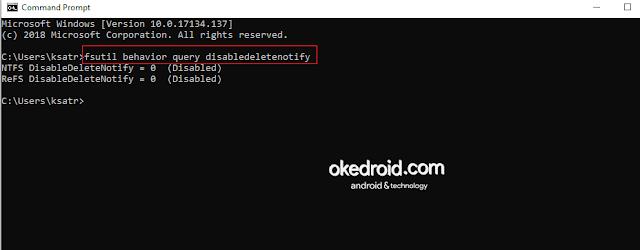 Command Prompt Mengecek Menampilkan Mengaktifkan Fitur TRIM SSD CMD Windows 10