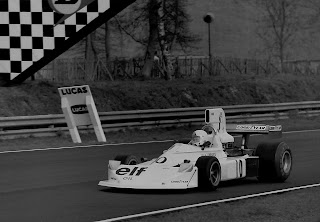 Lella Lombardi at the wheel of the March 751 in which she finished sixth at the 1975 Spanish Grand Prix