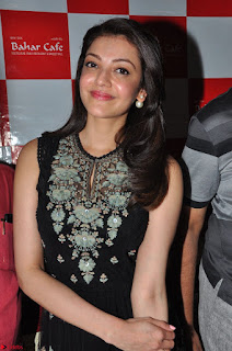 Kajal Aggarwal in lovely Black Sleeveless Anarlaki Dress in Hyderabad at Launch of Bahar Cafe at Madinaguda 024.JPG