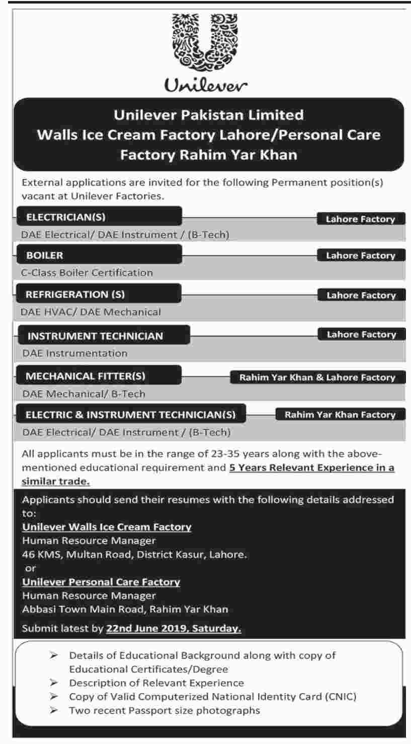 Advertisement for Unilever Pakistan Limited Jobs June 2019
