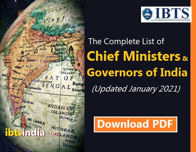 List of Chief Ministers and Governors of India Updated January 2021 (Download in PDF)