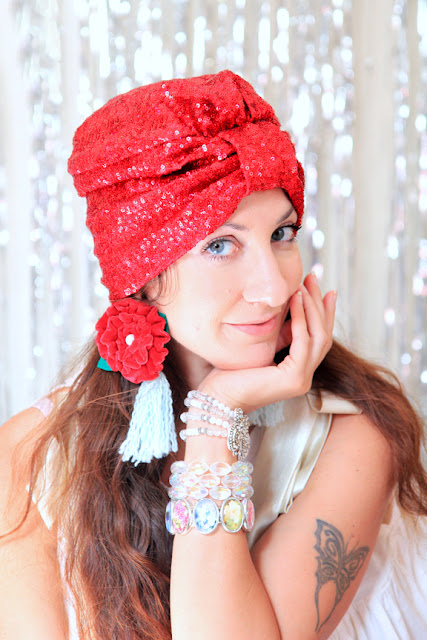 Turban in Red Sequins by Mademoiselle Mermaid - Holiday Party Style