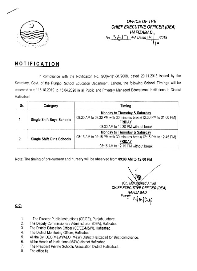 SCHOOL TIMINGS DISTRICT HAFIZABAD